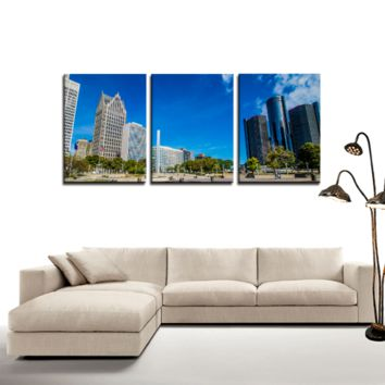 Detroit Downtown - 3 Panel Canvas Wall Art