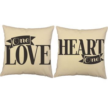 One Love One Heart Throw Pillows