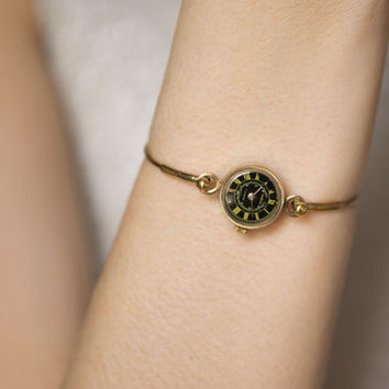 Vintage watch bracelet Seagull, gold plated lady watch bracelet tiny, black face watch, unique women's watch gift, Russian fashion watch her