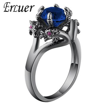 Dragon Rings Women Men Europe America Punk Jewelry Vintage Black Gold Color Stone Zircon Fashion Finger Dragons Ring Drop Ship