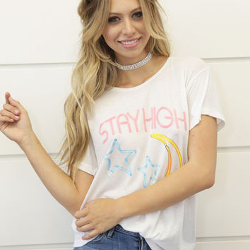 Wildfox Stay High Manchester Tee in Alabaster