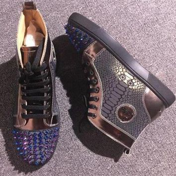 DCCK Cl Christian Louboutin Lou Spikes Style #2201 Sneakers Fashion Shoes