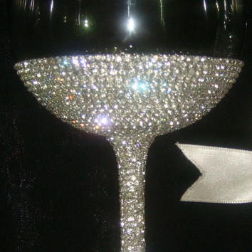 Custom designed handmade wine glass with Czech rhinestones