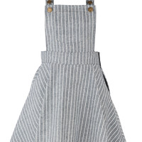 Color Block Striped Adjustable Shoulder Straps Overall Dress