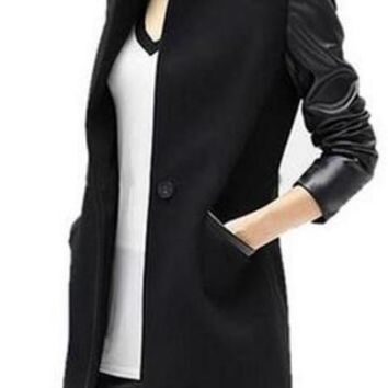 Black Patchwork Faux PU Leather Pockets Buttons Trench Coat