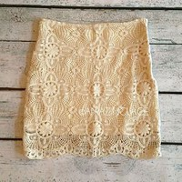 Ivory Crochet Lace Skirt Pretty Cream Lined Fashion Ladies Apparel