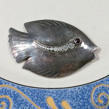 Vintage Sterling Silver Fish Pin Sweet Tropical Fish Brooch Embellished with an Almandine Garnet for the Eye, Has Wonderful Dark Patina