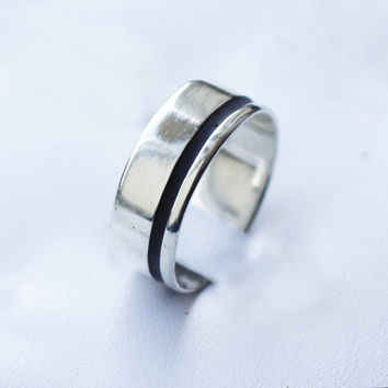 Silver Band Ring Unisex All Sizes with color resin by aboutjewelry