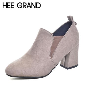 Women's Shoes Chelsea Boots Fashion High Heel Boots Flock Autumn Shoes for Woman