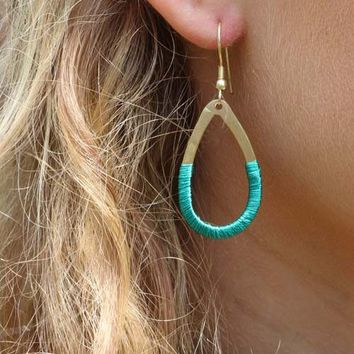 Teal Gold Threaded Teardrop Earrings