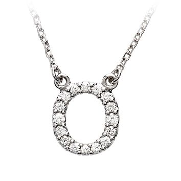 1/6 Cttw G-H, I1 Diamond initial Necklace in 14k White Gold, Letter O