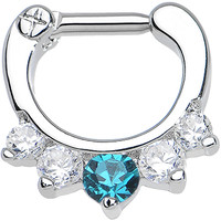 "14 Gauge 1/4"" Five Clear and Blue Cubic Zirconia Septum Clicker 
