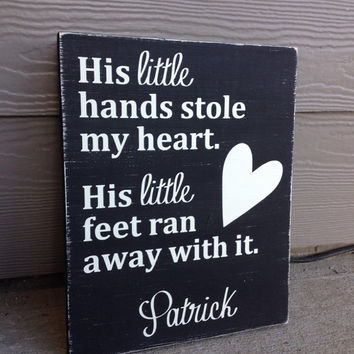 Personalized Little hands stole my heart wood sign, baby shower, baby, kids