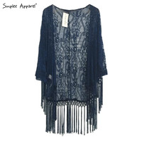 Crochet kimono women with tassels White tulle lace transparent blouse quimono Long sleeve loose sexy kimono cardigan spring 2015