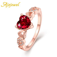 Ajojewel Brand 2016 New Arrival Romantic Red CZ Diamond Gold Plated Ruby Heart Ring Women