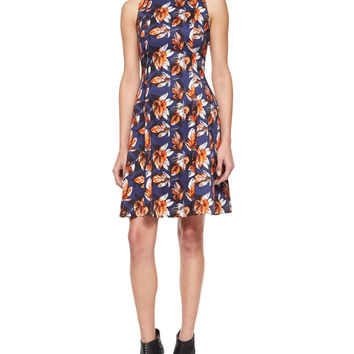 Grace Leaf-Print Fit-and-Flare Dress, Size: SMALL, BLUE - Risto