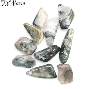KiWarm Newest 10Pcs Green Tree Agate Tumbled Crystals Gemstone Healing Stone Rocks for Terrarium Home Decor Material 15-25mm
