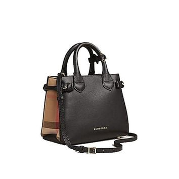 ONETOW Tote Bag Handbag Authentic Burberry The Baby Banner in Leather and House Check Black Item 40140711