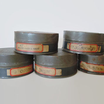 Set of 5 Antique Tea Tins | Vintage Tea Canister Set | Irwin-Harrisons-Whitney, Inc. Loose Tea Storage Tins | Primitive Tea Tin | Tea Lover