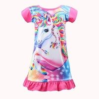 2018 New Baby Summer unicorn Dresses for Girls Princess Birthday Party Dress Children Moana Costume Kids Clothes for girl