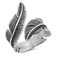 Stainless Steel Unisex Vintage Feather Ring
