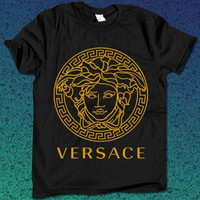 versace logo gold  for T Shirt Mens and T Shirt Girls