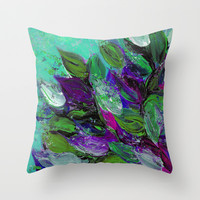 BLOOMING BEAUTIFUL 1 - Floral Painting Mint Green Seafoam Purple White Leaves Petals Summer Flowers Throw Pillow by EbiEmporium