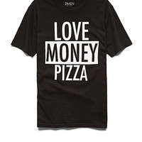Love Money Pizza Tee Black/White