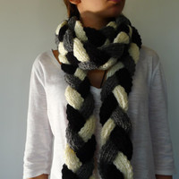 Long braided scarf Multicolor scarf Hand knitted scarf Womens knitted scarf Chunky knit scarf Handmade scarves Winter scarves Womens scarf