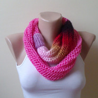 cotton lipstick pink and shades infinity scarf chain scarf circle scarf loop scarf cozy scarf woman accessory environmentally friendly