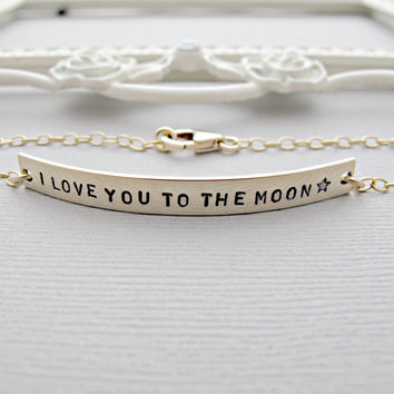 Gold Bar Bracelet, Gold Nameplate Bracelet, Engraved Bracelet, Personalized, Bracelet, Long Bar Bracelet, I love you to the moon, jewelry