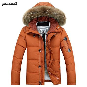 men down jacket 2016 winter/autumn male fur collar hooded warm parka casual wool cotton Solid coat outerwear clothing y126
