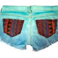 Tribal Aztec Navajo Southwestern Ethnic Print Mint Teal Blue Dyed Handmade Denim Destroyed Distressed Boho Coachella Hipster Cut Offs Shorts