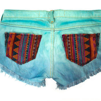 Ombre Tie Dyed Tribal Aztec Navajo Southwestern Ethnic Print Cut Offs by GirlMeetsClothes on Etsy