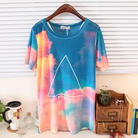 Galaxy Triangle Print Short Sleeves Tee