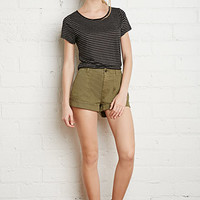 Cuffed-Hem Cotton Shorts