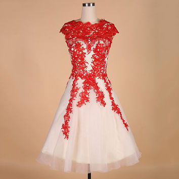 Red Scoop Neck Homecoming Dress, Applique Chiffon Short Sleeve Homecoming Dress