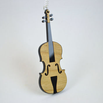 Violin Pendant Necklace - Laser Cut Acrylic Musical Instrument Jewelry