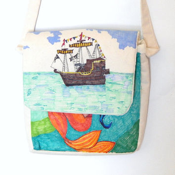 Hand Painted Purse, Handmade Bag, Hand Sewn, Sharpie Drawing, Custom Painted Handbags, Original Art, Mermaids, Pirates, Fantasy, Ocean Theme