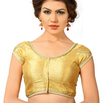 Saris and Things Gold Dupion Silk Fancy Front Open Saree Blouse Choli SNT-X-376-GOLD
