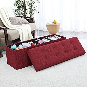 "Ellington Home Foldable Tufted Linen Large Storage Ottoman Bench Foot Rest Stool/Seat - 15"" x 45"" x 15"" (Burgundy)"