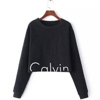 T-shirts Hot Sale Print Long Sleeve Crop Top Women's Fashion Hoodies