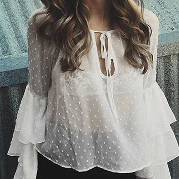 White Cotton Polka Dot Print Layered Ruffle Sleeve Sheer Blouse