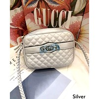 GUCCI Tide brand women's plaid chain bag shoulder bag Messenger bag Silver