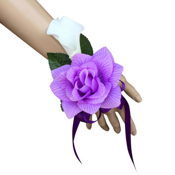 Wrist corsage-Lavender Open Rose with Real Touch calla lily