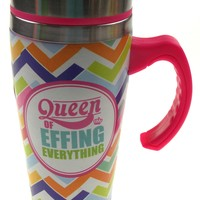 Coffee Mug Queen Of Effing Everything Gift Insulated 16oz Travel Pink Chevron