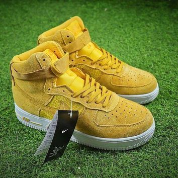 DCCKU62 Nike Air Force 1 High AF1 Yellow White Shoes