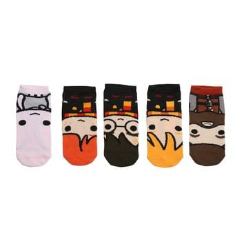 Harry Potter Chibi Big Face No-Show Socks 5 Pair