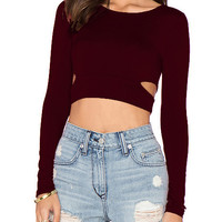 Wine Red Long Sleeve Cut Out Cropped T-Shirt