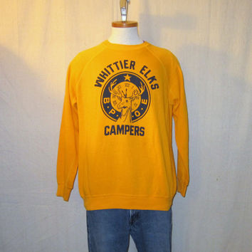 Vintage 80s ELK CAMPING GRAPHIC Whittier Nature Wildlife Warm Soft Bright Large Cotton Blend Crewneck Sweatshirt
